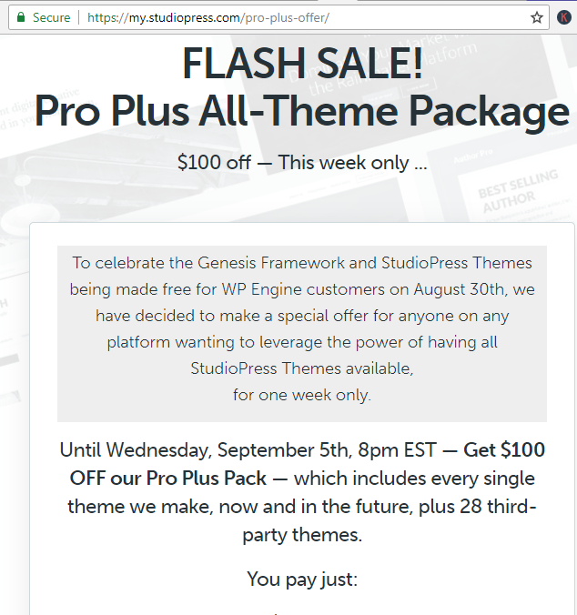 Genesis WPEngine Sale